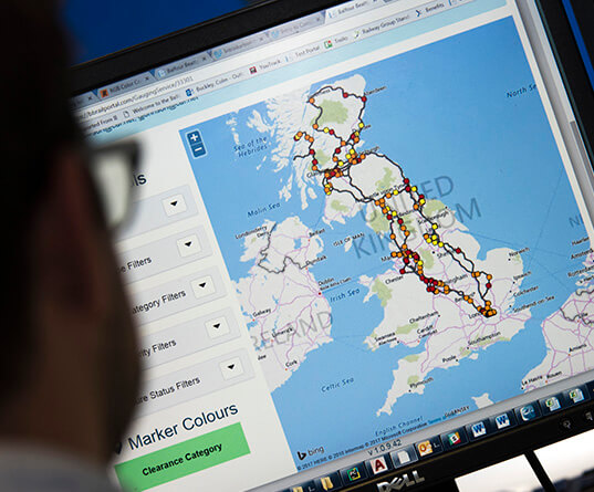 Interactive route mapping software on screen
